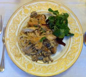 Chicken tetrazzini on plate 15 Dec 2013