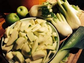 Apple and fennel soup in prep 4 Jan 2014