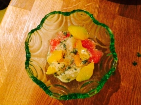 Citrus mint salad with mustard and mint dressing