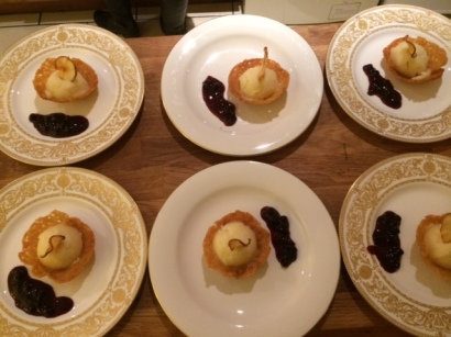 Pear sorbet in brandy-snap baskets plated up 1 Feb 2014