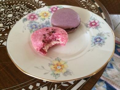 raspberry macaron on plate