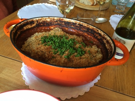 Toulouse cassoulet in casserole