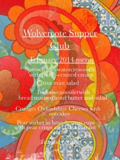 Wolvercote Supper Club menu 1 Feb 2014