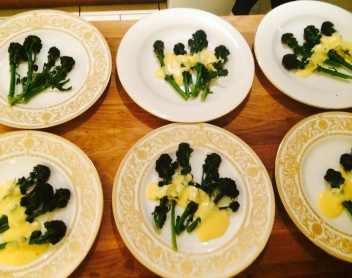 Broccoli with lemon Hollandaise plated